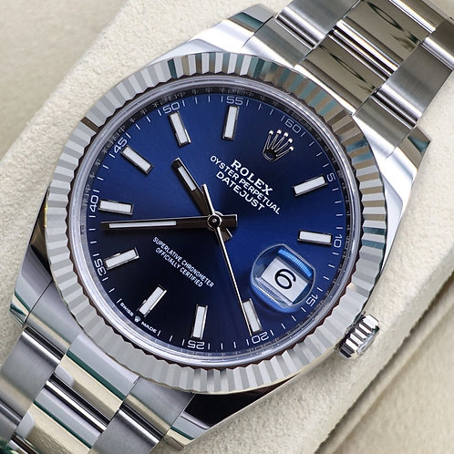 Unworn Stainless Steel Rolex Oyster Perpetual Datejust 41 With Blue Baton Dial