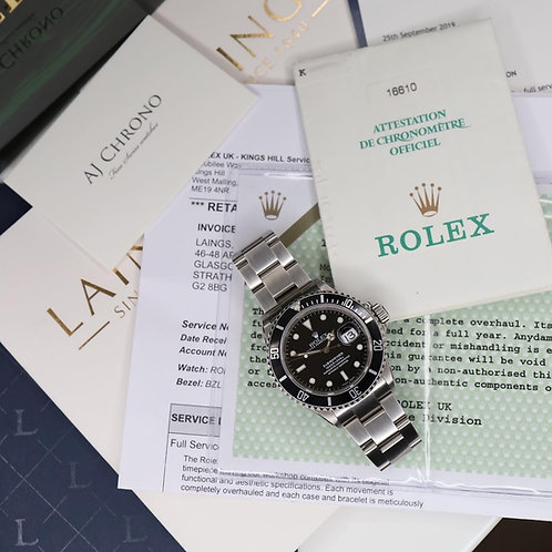 Gents Stainless Steel Rolex Oyster Perpetual Submariner Date 16610 Full Set