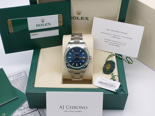Factory Sealed Gents Stainless Steel Rolex Milgauss Z Blue 116400GV 2017