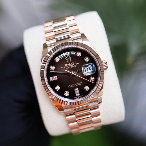 Unworn 2021 Rolex Day-Date 36mm Rose Gold Factory Diamond Chocolate Dial