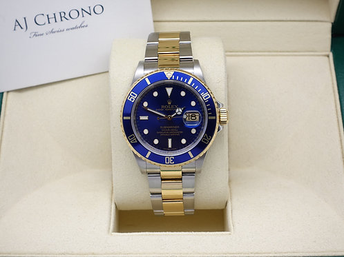 Gents Stainless & 18ct Gold Rolex Submariner Blue Kit 16613 Year 2009 With Box