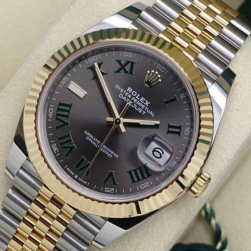 Unworn Steel & Yellow Gold Rolex Oyster Perpetual DJ 41 Wimbledon Dial