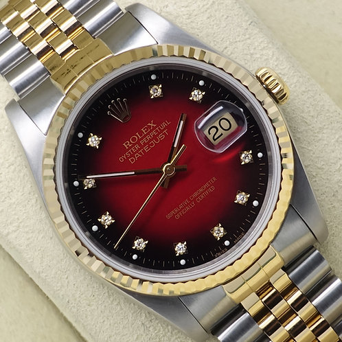 Gents Factory Diamond Red Vignette Dial Steel & 18ct Gold Rolex Datejust 16233