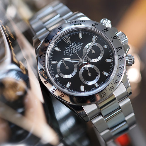 Final Production Black Dial Stainless Steel Rolex Oyster Perpetual Daytona