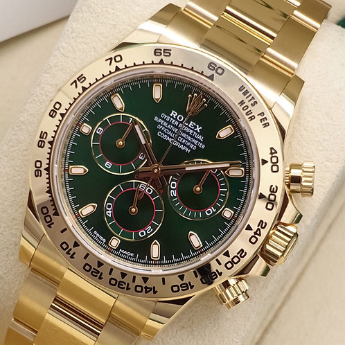 Unworn June 2019 18ct Yellow Gold Rolex Daytona 116508 Highly Desirable Green