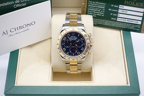 Gents Steel & Gold Rolex Oyster Perpetual Daytona Rare Racing Blue Dial 116523