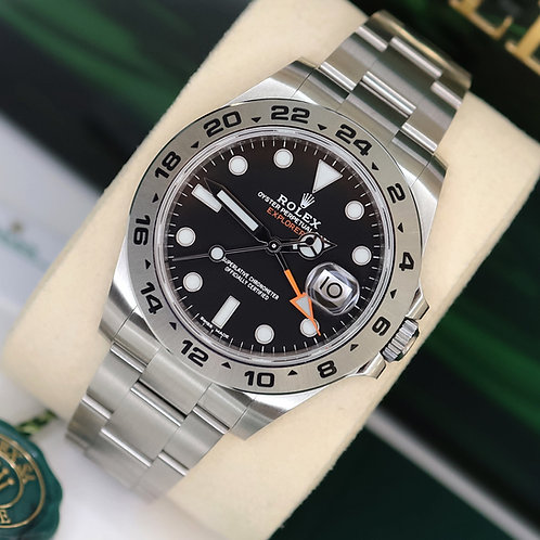 Unworn 2019 Stainless Steel Black Dial Rolex Explorer II 216570