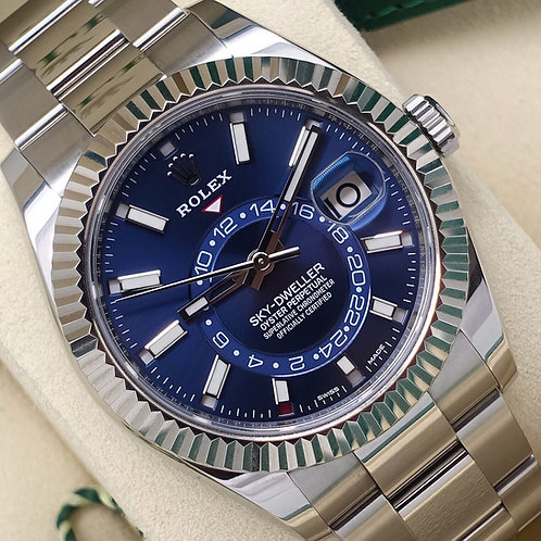 Gents Stainless Steel Rolex Oyster Perpetual Sky-Dweller With Blue Dial B&P 2017