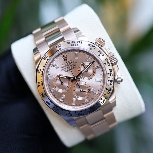 2021 Everose Gold Sundust Baguette Diamond Dial Rolex Daytona 116505