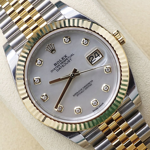 Unworn 2019 Steel & 18ct Gold Rolex Datejust 41 Factory Mother Of Pearl Diamonds