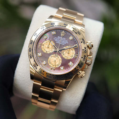 Rolex Daytona 116508 Tahitian MOP Diamond 2021 Yellow Gold With Papers Unworn