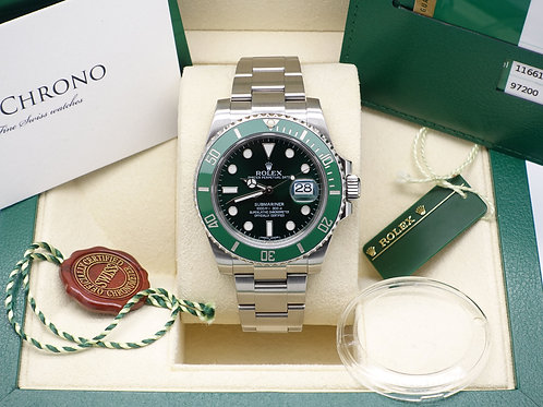 Gents Stainless Steel Rolex 'Hulk' Submariner 116610LV Complete with Box & Paper