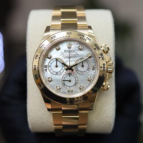 Rolex Daytona 116508 White MOP Diamond 2021 Yellow Gold With Papers Unworn