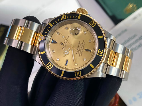 Rare Factory Serti Dial Rolex Submariner 16613 Complete With Box & Papers 2003