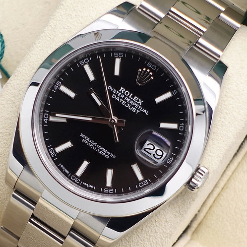 Gents Stainless Steel Rolex Oyster Perpetual Datejust 41 With Black Baton Dial