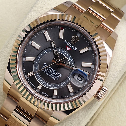 Unworn 2019 18ct Rose Gold Rolex Oyster Perpetual Sky-Dweller Rhodium Dial