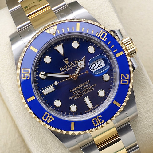 Unworn Gents Steel & 18ct Gold Rolex Oyster Perpetual Blue Kit Submariner Date