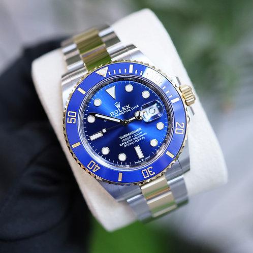 Unworn 2021 Gents Steel & 18ct Gold Rolex Oyster Perpetual Blue Kit Submariner