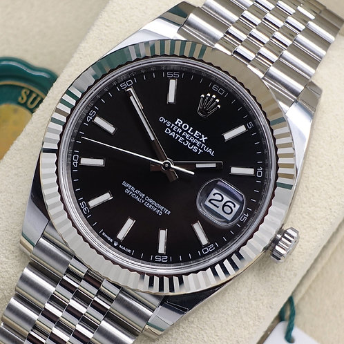 Unworn Stainless Steel Rolex Oyster Perpetual Datejust 41 With Black Baton Dial