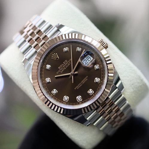 Unworn 2020 Steel & Rose Rolex Oyster Perpetual DJ 41 Chocolate  Diamond Dial