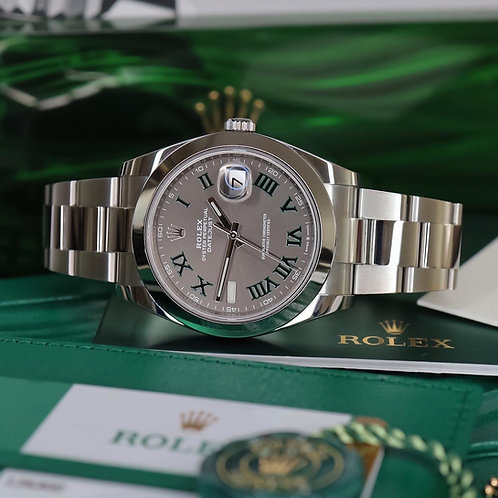 Gents Stainless Steel Rolex Oyster Perpetual Datejust 41 Wimbledon Dial  2020