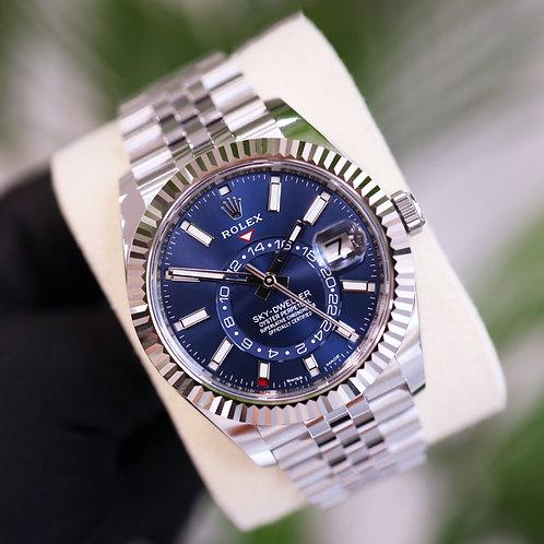 Unworn 2021 Rolex Stainless Steel Oyster Perpetual Blue Dial Jubilee Sky-Dweller