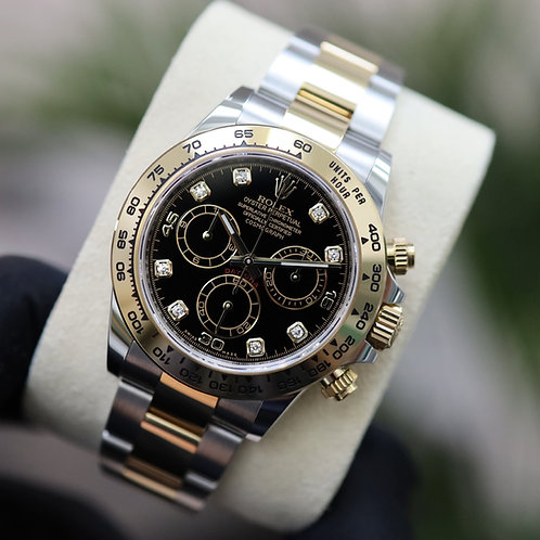 Gents stainless steel & 18ct Gold Rolex Oyster Perpetual Daytona Black Diamond