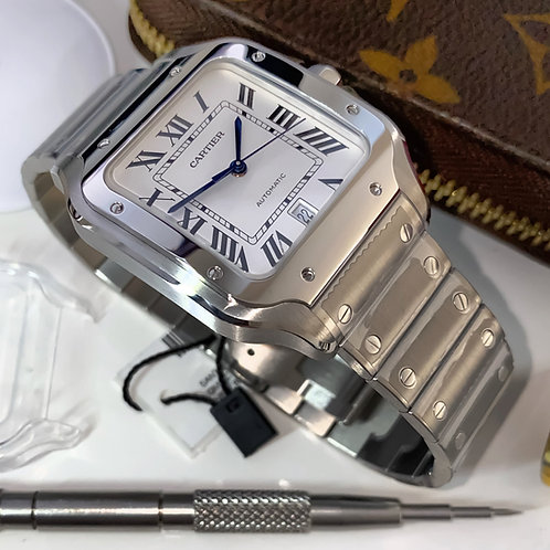 Gents Stainless Steel Cartier Santos White Large Complete 2019 Box & Papers