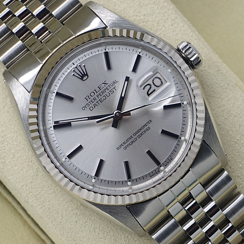 Gents stainless steel Rolex Oyster Perpetual Datejust with 18ct white gold bezel