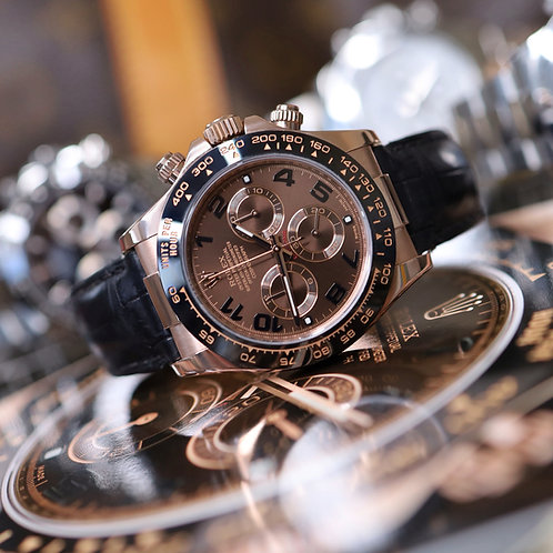 Discontinued Everose Gold Chocolate Dial Rolex Cosmograph Daytona on Leather