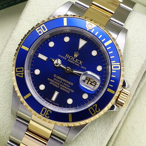 Stainless & 18ct Gold Rolex Submariner Blue Kit 16613 2008 With Box & Papers