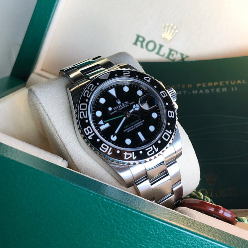 Gents Stainless Steel Rolex GMT-Master II 116710LN With Box & Papers