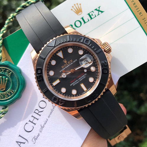 18ct Rose Gold Rolex Yacht-Master Oysterflex Complete With Box & Papers 2016