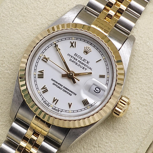 Ladies Stainless Steel & 18ct Gold Rolex Datejust With Stunning White Dial