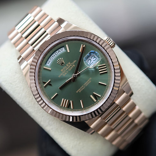 Unworn 2021 18ct Rose Gold Rolex Oyster Perpetual Day-Date 40 Anniversary Olive