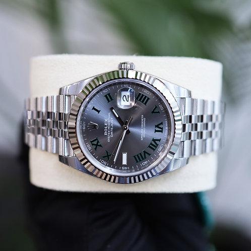 Unworn 2021 Gents Stainless Steel 18ct & White Gold Rolex Datejust 41 Wimbledon