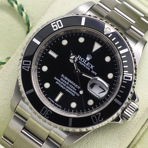 Gents Stainless Steel Rolex Oyster Perpetual Submariner Date 16610 B & P
