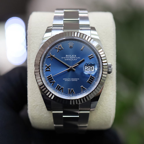 Unworn Stainless Steel Rolex Oyster Perpetual Datejust 41 With Azzuro Blue Dial