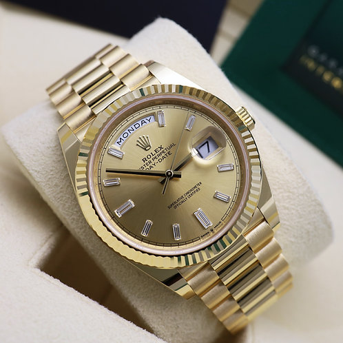 Unworn 2021 Factory Baguette Diamond Champagne Dial Rolex Day-Date 40 228238