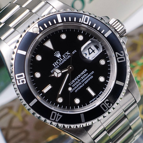Gents Stainless Steel Rolex Oyster Perpetual Submariner Date 16610 With Papers