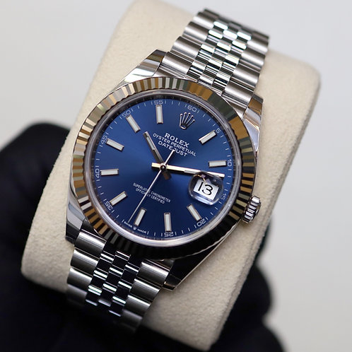 Gents Stainless Steel Rolex Oyster Perpetual Datejust 41 Navy Blue Baton Dial