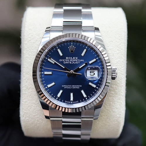Gents Navy Blue Stainless Steel Rolex Oyster Perpetual Rolex Datejust 36mm