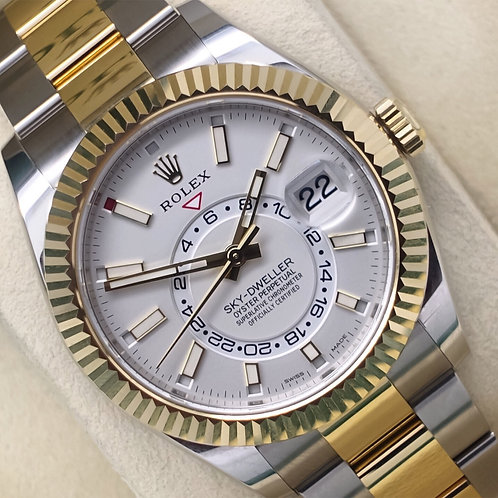 Unworn 2019 Stainless Steel & 18ct Gold Rolex SkyDweller White Ivory Dial 326933