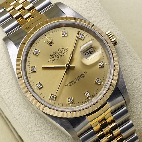 Gents Factory Champagne Diamond Dial Steel & 18ct Gold Rolex Datejust