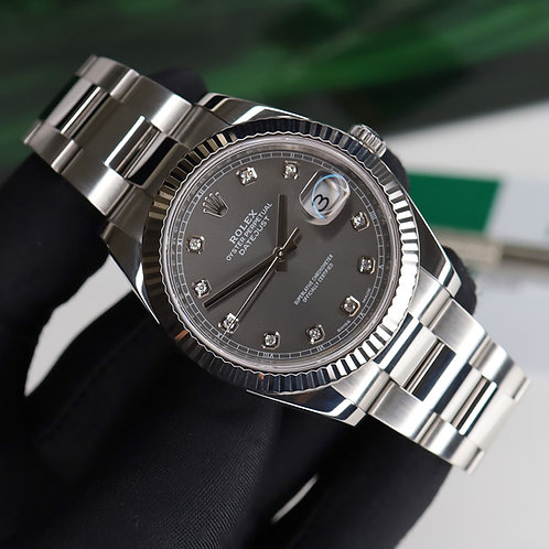 Factory Diamond Stainless Steel & 18ct White Gold Rolex Datejust 41 Rhodium 2018