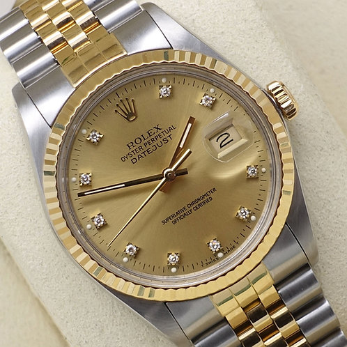 Gents Stainless Steel & 18ct Gold Rolex Datejust With Factory Champagne Diamond