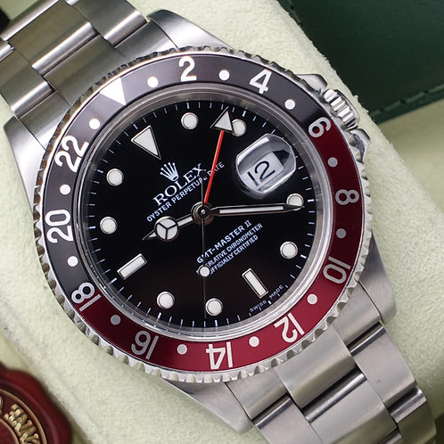 Stainless Steel Coke Rolex Oyster Perpetual GMT-Master II 16710 Box & Papers