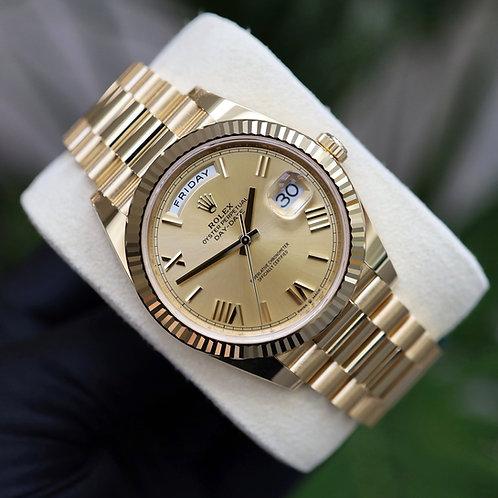 Unworn 2021 Roman Champagne Numeral Rolex Day-Date 40 228238