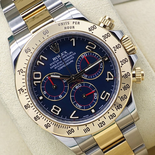 Gents Steel & Gold Rolex Oyster Perpetual Daytona Rare Racing Blue Dial