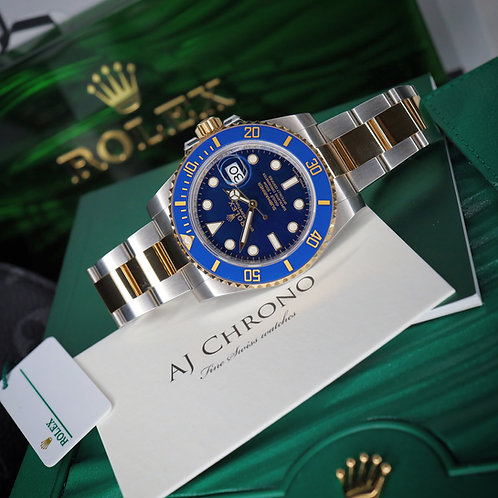 Unworn 2020 Gents Steel & 18ct Gold Rolex Oyster Perpetual Blue Kit Submariner